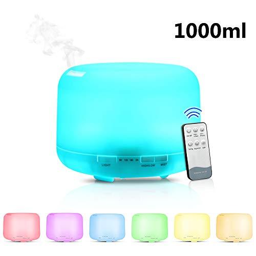 Lixada afstandsbediening 1000 ml ultrasone luchtbevochtiger aroma-olie diffuser met 7 kleuren leds nachtlicht huishouden elektrische aromatherapie voor Office Home Spa Yoga Relax