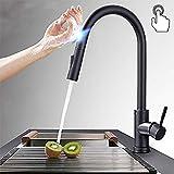 Rozin - Grifo de cocina con sensor giratorio 360°, con 2 tipos de chorro, acero...