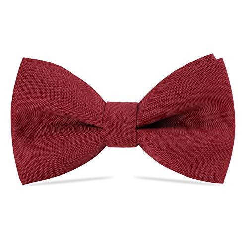WELROGPajarita clásica pre-atadaPajaritas ajustables formales de gabardina de esmoquin sólido para niños y hombresCorbata para adultos y niños para la fiesta de bodas (Vino rojo)