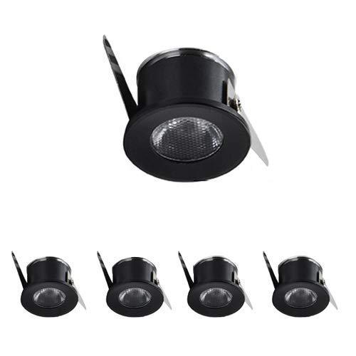 Paquete de 5 focos pequeños de Aluminio de 1 W LED con Foco pequeño - Mini luz empotrable de Techo para Pared, zócalo, luz de terraza, ultrabrillante, Vitrina, Armario, Vitrina (Color: Negro)