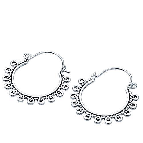 Iyé Biyé Jewels - Pendientes aros 22 mm niña mujer plata de ley 925 estilo étnico envejecido cierre gancho