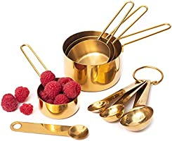 Modern Stainless Steel Measuring Cups and Spoons Set, Gold - Stackable, Stylish, Sturdy Metal Measuring Cups and Metal...