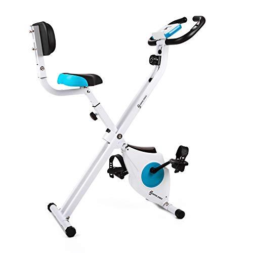 Capital Sports Azura - Fahrrad-Heimtrainer, klappbar, 40x45cm Stellfläche, Belastbarkeit max.100kg, Fahrradtrainer mit Handpulsmesser, Trainingscomputer, ergonomisch, Rückenlehne, weiß