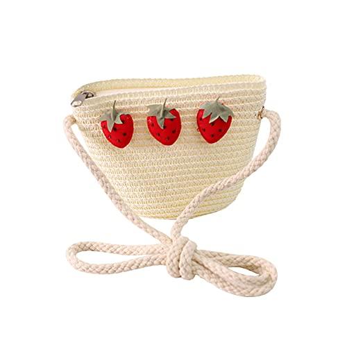 Poryu Kindertaschen Stroh Kleine Tasche SüßE UmhäNgetasche Mode GeldböRse Tasche FüR Kinder Stroh Kleine Tasche Nette UmhäNgetasche Strandtasche