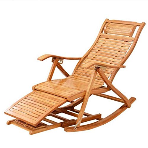 AWCPP Silla de Bambú de Bambú de Bambú Silla de Salón Ajustable, con Tablero de Reposapiés Y Masajes Extendidos, para Tumbonas para el Jardín Al Aire Libre,a