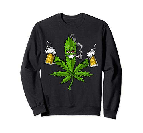 Erba Marijuana Cannabis Birra Erbaccia Hippie Weed Party Felpa