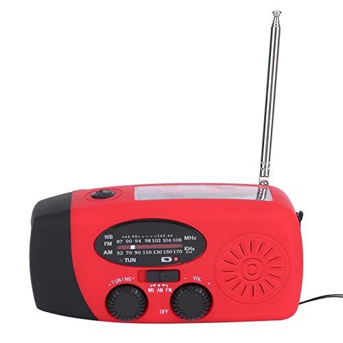 PUSOKEI Radio de manivela Solar de Emergencia, Radio Multifuncional Am/FM/meteorológica con Linterna LED/energía móvil, Radio de manivela para Acampar, Senderismo, Aventura