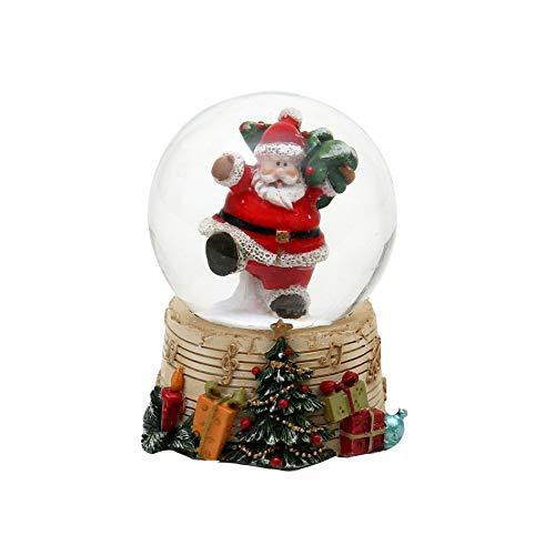 Dekohelden24 Palla di neve – allegro Babbo Natale con abete, dimensioni (A x L x P): ca. 6,3 x 5 cm Ø 4,5 cm.