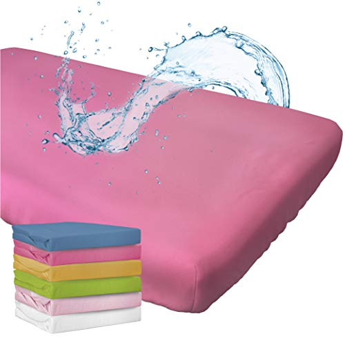 WhizProducts Spannbettlaken mit integriertem Matratzenschoner 70 x 140 cm (pink) für Babybett - atmungsaktiv und wasserdicht - Spannbetttuch mit zuverlässigem Nässeschutz für Babys und Kinder