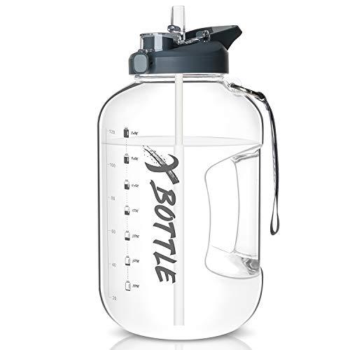 3.78L Large Water Bottle with 2 in 1 Straw & Chug Lid - Dishwasher Safe & Time Marker Motivational Gallon Water Bottle BPA Free - Durable Handle Easy Carry for Gym,Sports,Camping, Office, Home