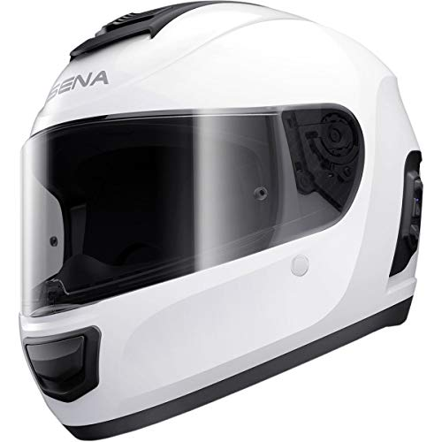 Sena Momentum INC Full Face Street Motorcyle Helmets - Glossy White Medium