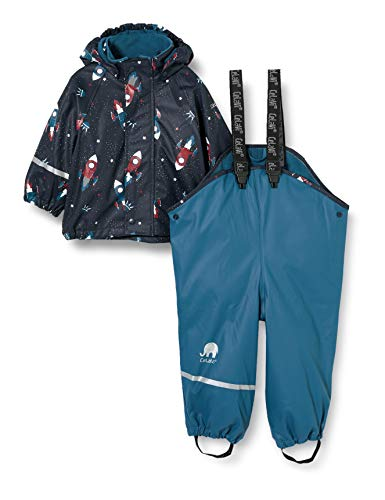 Celavi Boys Rainwear Set wit Fleece Rain Jacket, Ice Blue, 70