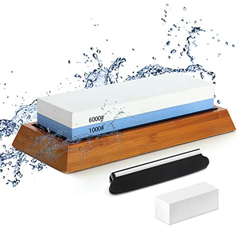 Double-sided Sharpening Stone 1000/6000, with Corner Guide, Correction stone, Non-Slip Bamboo Base, Dual-Grit Wet Sharpener Anti-slip design Best Wet Sharpener