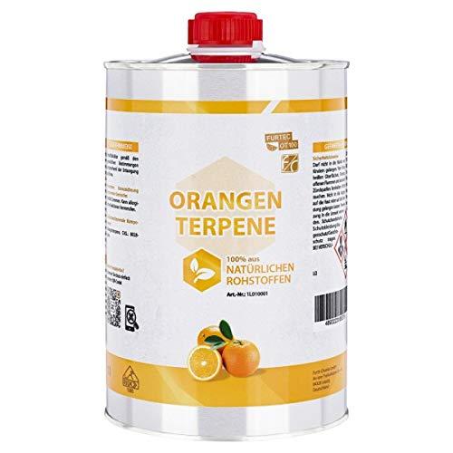 Orangenterpene 100%, Idealer Etikettenlöser & Klebereste-Entferner für Autolack, Fensterrahmen, Kunststoff, Glas, 1 L