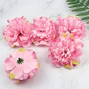 Artificial and Dried Flower 11cm Pink Peony Fake Flowers Heads in Bulk Silk Flower Dahlia Rose Artificial Flower Head for Wedding Party Prom 5pcs