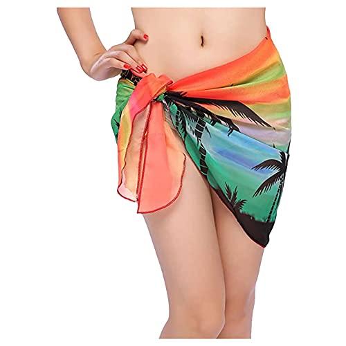 Falda de traje de baño para cubrir Hawii Stysle Beach Wraps para mujer Bikini gasa bufanda cubre tops para trajes de baño