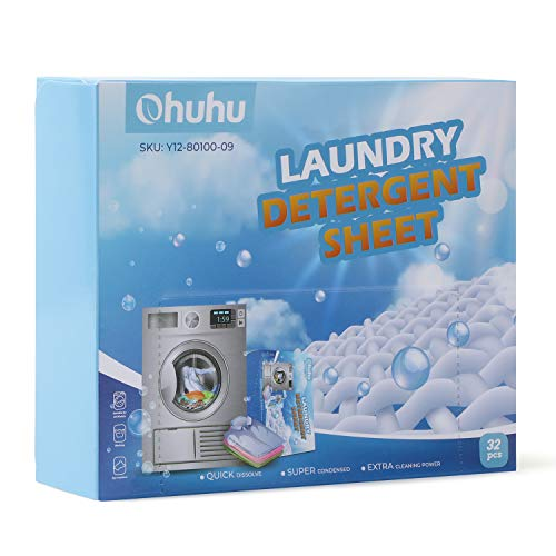 Ohuhu Eco-Friendly & Portable Instant Dissolving Laundry Detergent Sheet, Easy Dissolve, High Detergency, Maintains Clothes Original Colors, Great for Travel, Dorm, Home, 32 Count