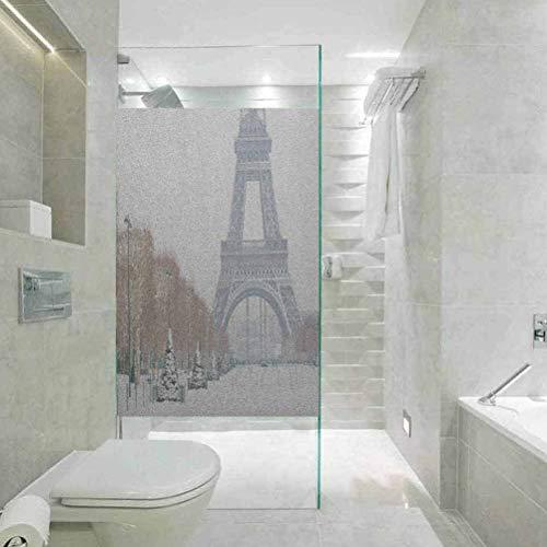 Vinilo decorativo para ventana de privacidad, diseño de torre Eiffel de invierno en nieve al aire l