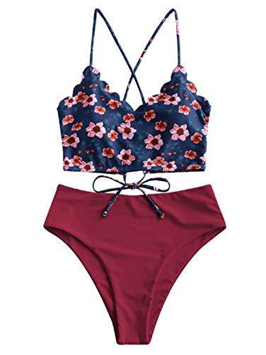 ZAFUL Damen Zweiteiliger Bikinis, gepolsterter Badeanzug mit Blattdruck Schnür-Tankini Oberteil hochtaillierte Shorts gemischter Badeanzug (Weinrot-B, M-EU 38)