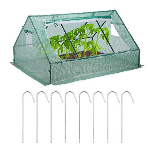 Relaxdays Foliengewächshaus, niedrig, Spitzdach, UV-beständige Folie, Gewächshaus Gemüse u. Pflanzen, HBT 110x180x150cm