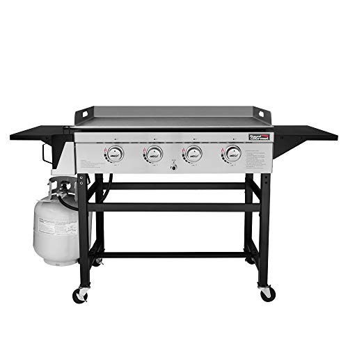 Royal Gourmet GB4001B 4-Burner Flat Top Gas Grill 52000-BTU Propane Fueled Professional Outdoor Griddle 36inch Backyard Cooking with Side Table, Black
