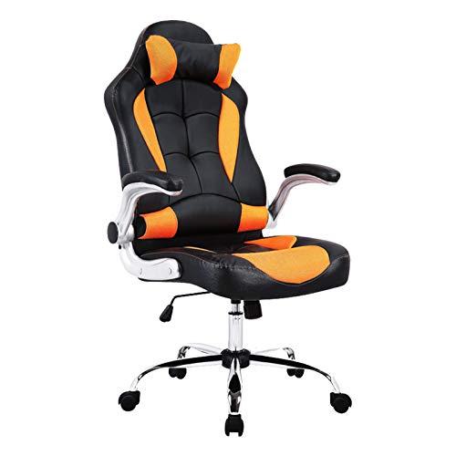 mecor Gaming Stuhl Racing Stuhl Leder Bürostuhl Chefsessel Schreibtischstuhl mit Armlehnen & Höhenverstellung & Wippfunktion & Kopfkissen Schwarz/Orange