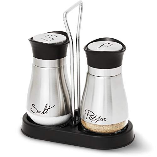 Juvale Salz- und Pfefferstreuer (1 Set) - Gewürzbehälter für Salz und Pfeffer - Ideal für Küche, Esstisch, Gästetische im Restaurant, Café oder Bistro - Edelstahl, Silberfarben - AUSVERKAUF