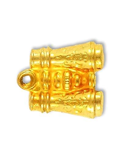 Abalorio de prismáticos de oro amarillo de 9 quilates (aproximadamente 11 x 10 mm)