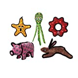 TUFFY - World's Tuffest Soft Dog Toy - Ocean Starfish - Squeakers - Multiple Layers. Made Durable, Strong & Tough. Interactive Play (Tug, Toss & Fetch). Machine Washable & Floats (Combo Pack #1)