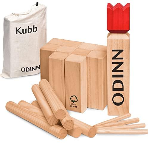 Toyfel XXL Schweden Schach Odinn Kubb Spiel Indoor & Outdoor - Wurfspiel aus Premium FSC® Buchenholz mit Stoffbeutel Geschicklichkeitsspiel Holzspielzeug für Kinder & Erwachsene