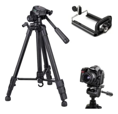 Tripe Universal 1,80M preto prata para Câmeras Nikon Canon Fotográficas com suporte para celular e bolsa SLC3600 Luuk Young (Preto)