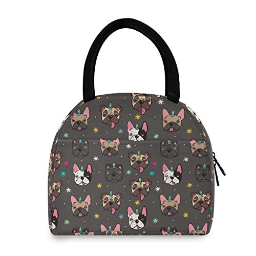 ALAZA Cute Pug Dog French Bulldog Unicorn Lunch Bag Tote Insulated Cooler Bags Reusable Lunch Box Container Portable for Women Kids Men Girls Boys Freezable Lunch Holder for School Work