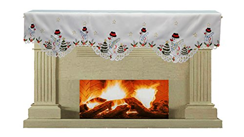 Creative Linens Holiday Embroidered Snowman and Christmas Tree Mantel Scarf 19x70' White