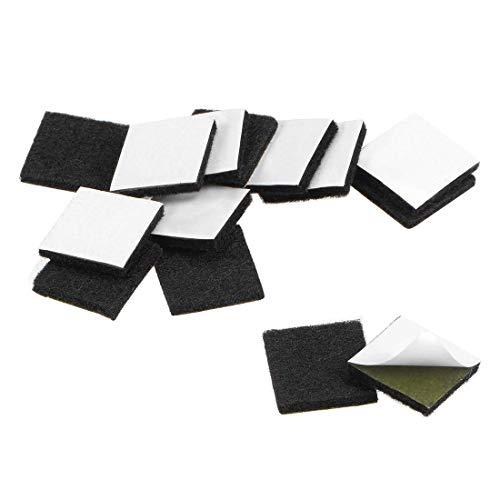 YeVhear Furniture Pads - Almohadillas de fieltro adhesivas (20 x 20 mm, cuadradas, 3 mm, 16 unidades), color negro