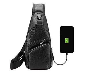 Elios Men's PU Leather Multipurpose Daypack Shoulder Sling Bag Chest Crossbody Shoulder Chest Travel Bag with USB Charging Port Black