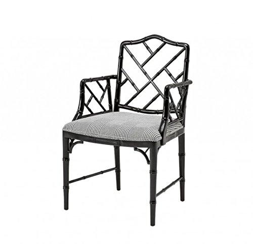 Casa Padrino Mahagoni Esszimmer Stuhl mit Armlehne Schwarz - Limited Edition