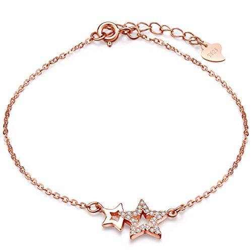 Pulsera con diseño de doble estrella de Infinite U, plata de ley 925 con circonias cúbicas, cadena de extensión ajustable, color oro rosado