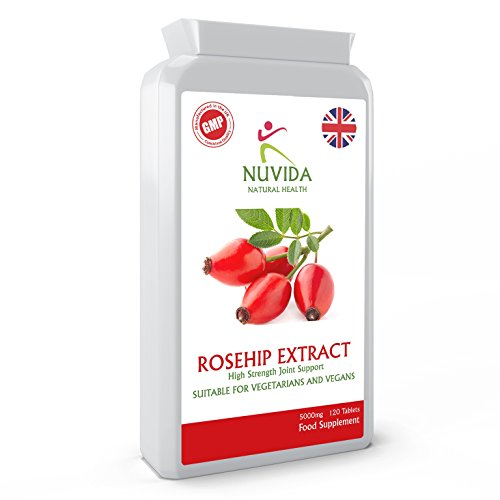 Rosehip Tablets x 120 / High Strength 5000mg Rosehip Extract Supplement with Added Vitamin C/Vegan and Vegetarian Friendly