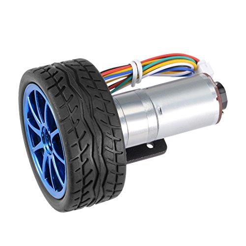 uxcell DC 12V 350RPM Encoder Gear Motor with Mounting Bracket 65mm Wheel Kit for Smart Robot DIY
