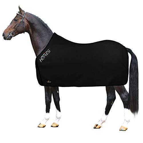Horses, Couverture Pour Chevaux en Molleton, Modèle de Base, Doux et Confortable, Idéal Pour le Transport et Après le Travail, Disponible en Différentes Couleurs (Nhoir- 155 cm)