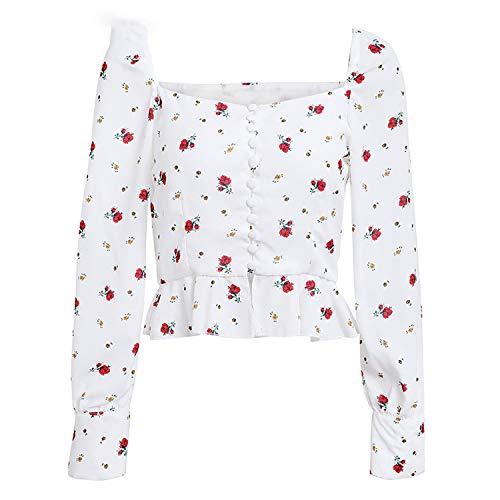 Elegante Witte Blouse Vrouwen Shirts Bloemenprint Blouse Tops Casual Ruches Korte Tops Blusas, Print,S