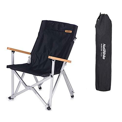 Tentock Al Aire Libre Silla Plegable de Camping Ultraligera con Respaldo, Silla de Pesca Portátil de Aluminio Resistente de 120 kg para Festivales Picnic Jardín(Negro)