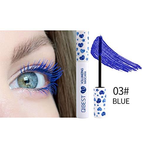 WWWNNUUUX 4D Seda Fibra Lash Mascara, Ojos 7 Color Natural del rimel a Prueba de Agua largas pestañas a Prueba de Manchas de Maquillaje Gruesa y Dura más Tiempo de Maquillaje de Ojos con Encanto,Azul