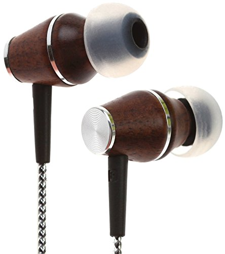 Symphonized XTC 2.0 Earbuds with Mic, Premium Genuine Wood Stereo Earphones, Hand-Made in-Ear Noise-isolating Headphones with Tangle-Free Innovative Shield Technology Cable (Sinful Silver)