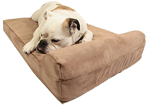 """Barker Junior - 4"""" Pillow Top Orthopedic Dog Bed with Headrest for Medium Size Dogs 30-50 Pounds"""