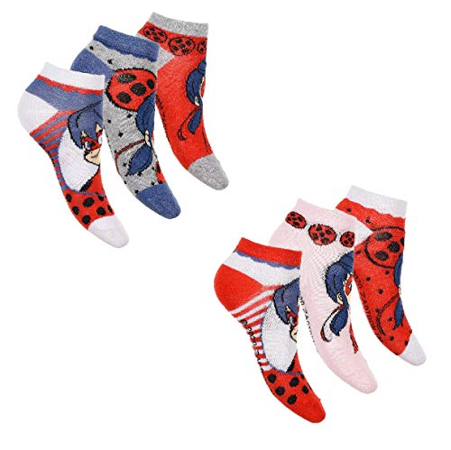 Palleon - 6 paia di calze da donna Miraculous Ladybug multicolore 27-30
