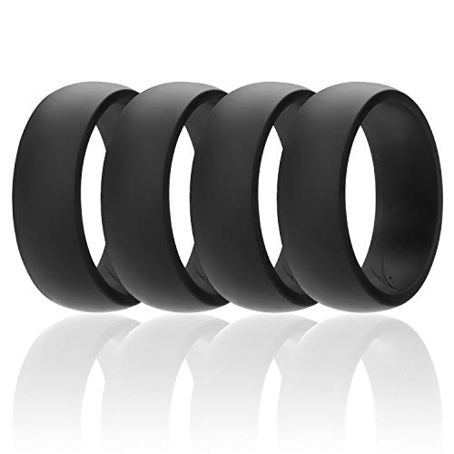 ROQ Silicone Wedding Ring for Men Affordable Silicone Rubber Band, 4 Pack - Black - Size 9