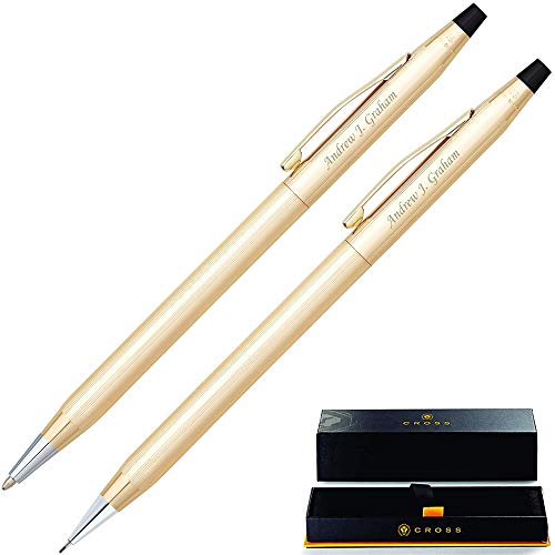 Personalized Cross Pen Set | Cross Classic Century 10 Karat Gold Plated Pen and Pencil Gift Set. Custom Engraved With Your Name Or Message By Dayspring Pens. 450105.
