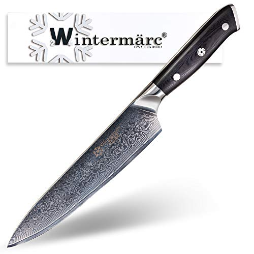 Wintermärc Chef knife 8-inch (200 mm) - Nikuya Series 肉屋 - VG10 Japanese Damascus Steel blade with G10 Garolite Handle - Best Kitchen Tool for Home Cooking and Professional Use