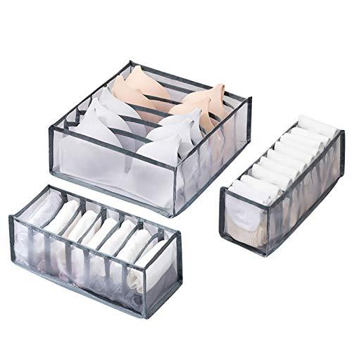 TonStyle Organizer di Cassetti, Set di 3 Cassetto Organizer per Biancheria Intima Lavabile Pieghevole Divisori per Cassetti per Reggiseno Calzini Cravatte E Sciarpe 6/7/11 Compartments (Grigio)